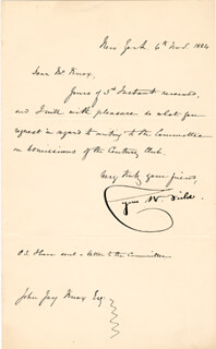 CYRUS W. FIELD - MANUSCRIPT LETTER SIGNED 11/06/1884