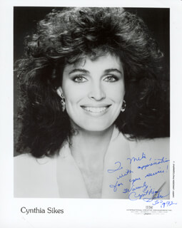 CYNTHIA SIKES - AUTOGRAPHED INSCRIBED PHOTOGRAPH 1972