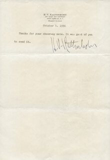 H. V. (HANS VON) KALTENBORN - TYPED NOTE SIGNED 10/05/1956