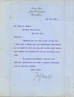 Autographs: JOHN WANAMAKER - TYPED LETTER SIGNED 05/24/1900