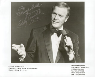 EDDY ARNOLD - AUTOGRAPHED INSCRIBED PHOTOGRAPH 1990