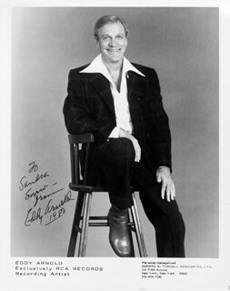 EDDY ARNOLD - INSCRIBED PRINTED PHOTOGRAPH SIGNED IN INK 1980