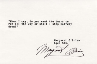 MARGARET O'BRIEN - TYPED QUOTATION SIGNED