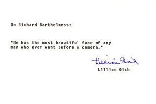 LILLIAN GISH - TYPED QUOTATION SIGNED