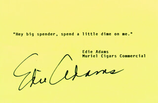 Autographs: EDIE ADAMS - TYPED QUOTATION SIGNED