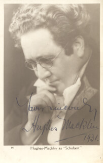 HUGHES MACKLIN - PICTURE POST CARD SIGNED 1931