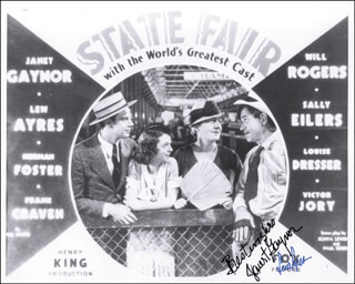 STATE FAIR MOVIE CAST - AUTOGRAPHED SIGNED PHOTOGRAPH CO-SIGNED BY: JANET GAYNOR, LEW AYRES