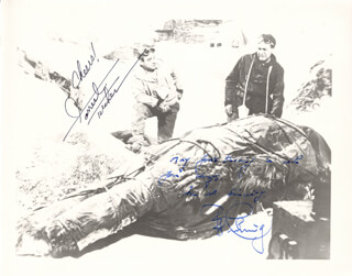 Autographs: THE ABOMINABLE SNOWMAN MOVIE CAST - PHOTOGRAPH SIGNED CO-SIGNED BY: PETER CUSHING, FORREST TUCKER