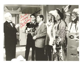 THE SENATOR WAS INDISCREET MOVIE CAST - AUTOGRAPHED INSCRIBED PHOTOGRAPH CO-SIGNED BY: IRON EYES CODY, HANS CONRIED, PETER LIND HAYES