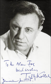 TEDDY KOLLECK - AUTOGRAPHED INSCRIBED PHOTOGRAPH 1/1975