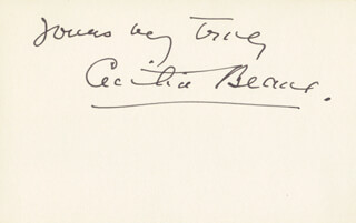 CECILIA BEAUX - AUTOGRAPH SENTIMENT SIGNED