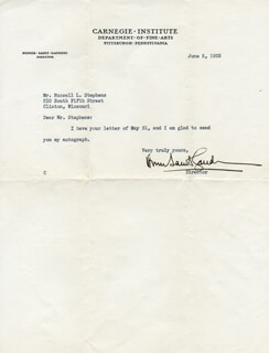 HOMER SAINT GAUDENS - TYPED LETTER SIGNED 06/05/1935
