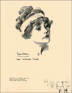 Autographs: ROSE O'NEILL - INSCRIBED PRINTED ART SIGNED IN INK