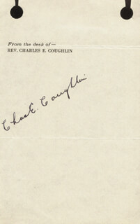 Autographs: CHARLES COUGHLIN - SIGNATURE(S) CIRCA 1935