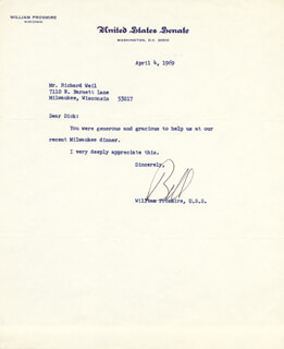 WILLIAM PROXMIRE - TYPED LETTER SIGNED 04/04/1969
