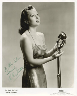 INA RAY HUTTON - AUTOGRAPHED INSCRIBED PHOTOGRAPH