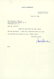DAVID LAWRENCE - TYPED LETTER SIGNED 06/23/1964