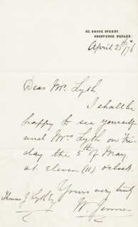 WILLIAM 1ST BARONET JENNER - AUTOGRAPH LETTER SIGNED 04/25/1876