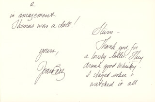 Autographs: JOAN BAEZ - GREETING CARD SIGNED