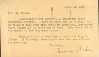 TED HEATH BAND (KENNY BAKER) - TYPED LETTER SIGNED 04/21/1938