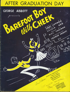 Autographs: GEORGE F. ABBOTT - INSCRIBED SHEET MUSIC SIGNED CO-SIGNED BY: ANN PALMER