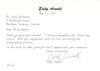 EDDY ARNOLD - TYPED LETTER SIGNED 05/15/1970