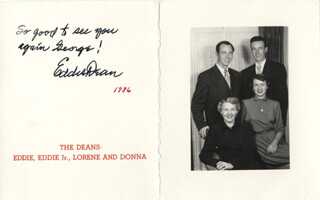 EDDIE DEAN - INSCRIBED CHRISTMAS / HOLIDAY CARD SIGNED