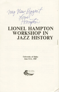 LIONEL HAMPTON - PAMPHLET SIGNED