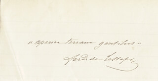 Autographs: FERDINAND DE LESSEPS - AUTOGRAPH QUOTATION SIGNED