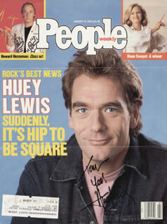 HUEY LEWIS & THE NEWS (HUEY LEWIS) - INSCRIBED MAGAZINE COVER SIGNED  - HFSID 180763