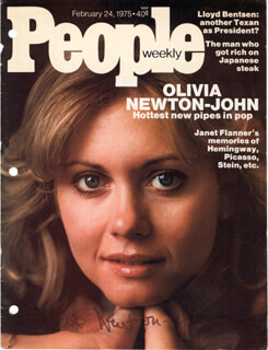 OLIVIA NEWTON-JOHN - MAGAZINE COVER SIGNED