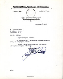 JOHN L. LEWIS - TYPED LETTER SIGNED 02/24/1965