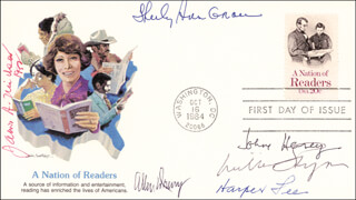 JOHN HERSEY - FIRST DAY COVER SIGNED CO-SIGNED BY: HARPER LEE, ALLEN DRURY, WILLIAM C. STYRON, SHIRLEY ANN GRAU, JAMES A. MICHENER