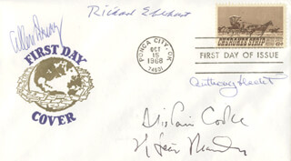 RICHARD EBERHART - FIRST DAY COVER SIGNED CO-SIGNED BY: ALISTAIR COOKE, ALLEN DRURY, ANTHONY E. HECHT