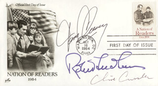 Autographs: TOM CLANCY - FIRST DAY COVER SIGNED CO-SIGNED BY: ROBERT LUDLUM, CLIVE CUSSLER