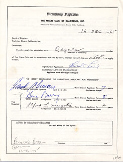 GENE BARRY - APPLICATION SIGNED 12/16/1965 CO-SIGNED BY: EDWARD SHERMAN, ALFRED L. MARGOLIS, BERNARD LEVINE