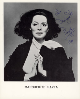 MARGUERITE PIAZZA - PRINTED PHOTOGRAPH SIGNED IN INK 1981