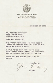 MAYOR JOHN V. LINDSAY - TYPED LETTER SIGNED 11/19/1970