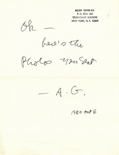 ALLEN GINSBERG - AUTOGRAPH NOTE SIGNED 10/06/1980