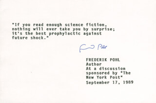 FREDERIK POHL - TYPED QUOTATION SIGNED 09/17/1989