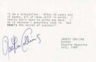Autographs: JACKIE (JACQUELINE JILL) COLLINS - TYPED QUOTATION SIGNED