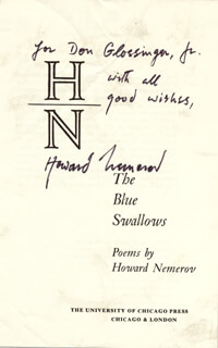 HOWARD NEMEROV - INSCRIBED BOOK PAGE SIGNED