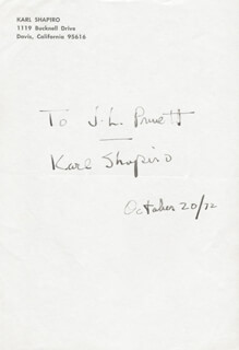 KARL SHAPIRO - INSCRIBED SIGNATURE 10/20/1972