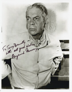 RAYMOND MASSEY - AUTOGRAPHED INSCRIBED PHOTOGRAPH