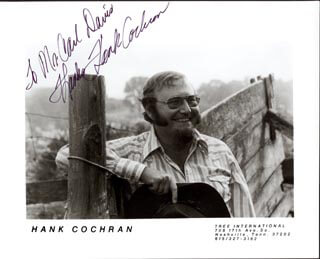 HANK COCHRAN - AUTOGRAPHED INSCRIBED PHOTOGRAPH