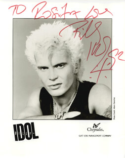 BILLY IDOL - AUTOGRAPHED INSCRIBED PHOTOGRAPH 04/1992