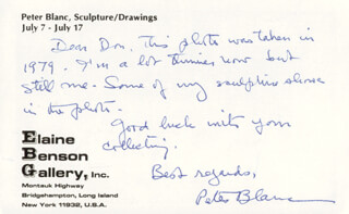 PETER BLANC - AUTOGRAPH NOTE SIGNED
