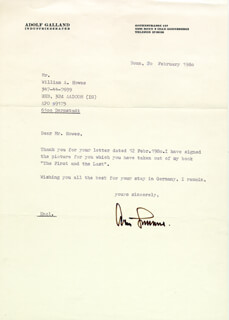 GENERAL ADOLF GALLAND - TYPED LETTER SIGNED 02/20/1980