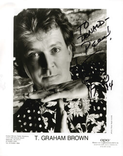Autographs: T. GRAHAM BROWN - INSCRIBED PRINTED PHOTOGRAPH SIGNED IN INK 1994