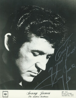SONNY JAMES - INSCRIBED PRINTED PHOTOGRAPH SIGNED IN INK